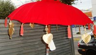Red Balinese Umbrella Ø 90 Folding Mast