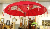 Red Balinese Umbrella Ø180 Folding Mast