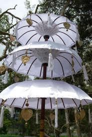 Triple Balinese Umbrella Cream Colour Folding Mast