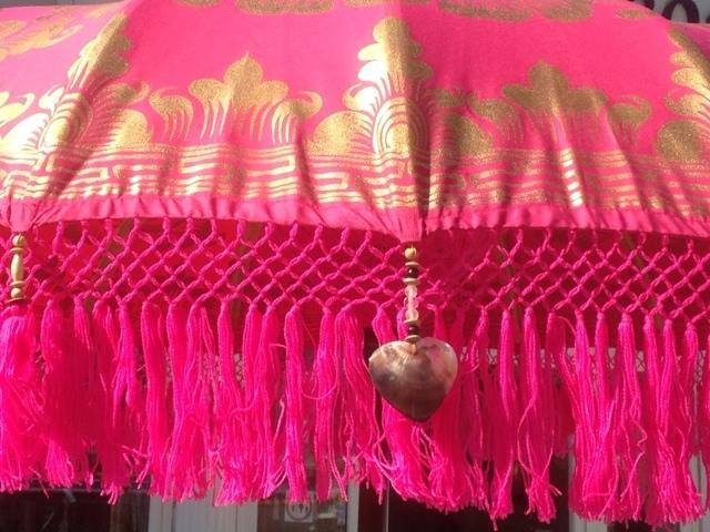 Pink Gold 185 216 De Luxe Balinese Umbrella Fringe Www