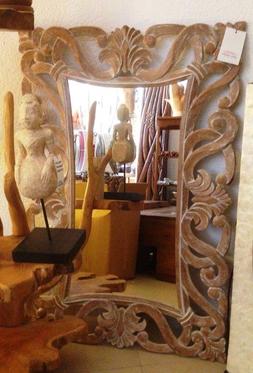 Espejo encaje grande blanco lavado for Espejo grande blanco