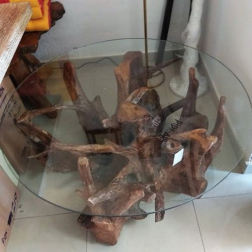 Teak Root Table with Glass