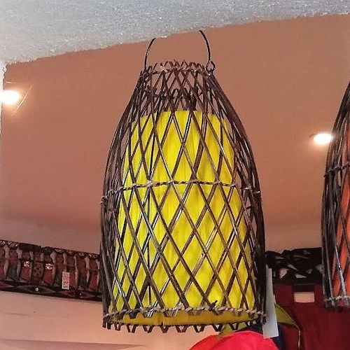 Yellow Rattan Ceiling Lamp