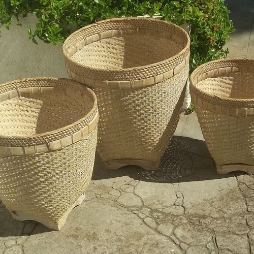 Set of 3 Baskets White Whased