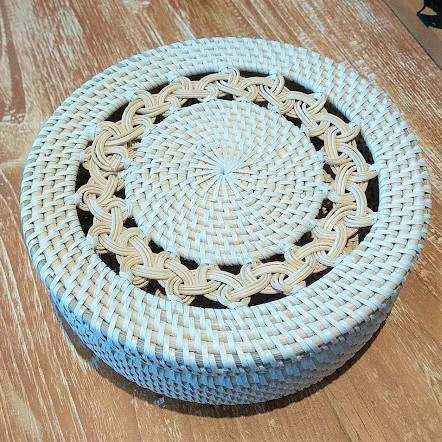 Round Rattan  and Plastic Box