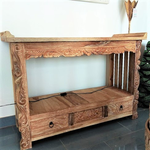 2 Drawers Teak Console