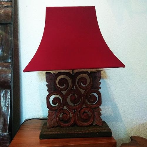 Handcarved Table Lamp