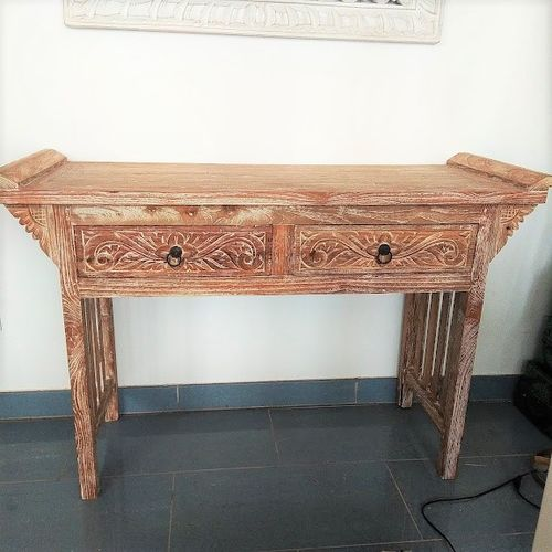 Two Drawers Teak Console