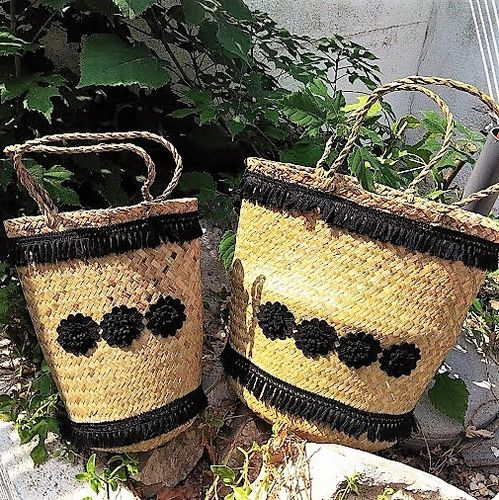 Black Flowers Wicker Bag