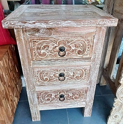 Three Drowers Bed Side Table